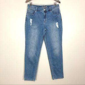 Chico's Platinum Rhinestone Skimmer Jeans Straight